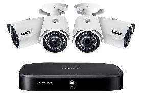 Lorex 4K 8 Channel 2TB DVR with 4 2K Outdoor Cameras, 150ft Night Vision