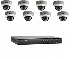 Flir DNR416P4P_8-N347VW4 PoE Home Security Camera System with 16Ch 8 Port 4TB NVR and (8) 2K HD Outdoor IP Dome Camera, 4X Motorized Optical Zoom, Night Vision, Motion Detection, (Without 100ft Cat5e Cable)