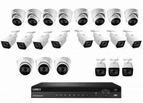Lorex 4K Nocturnal IP NVR System with 32 Channel 2X4TB NVR, LNB9292B Bullet and LNE9292B Dome Camera with Audio, 4x Optical Zoom, 30FPS, 150ft IR Night Vision, CNV