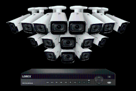 Lorex NC4K3MV-1616WB 4K Nocturnal IP NVR System with 16 Channel 3TB NVR, Sixteen 4K (8MP) Smart IP Motorized 4x Optical Zoom Security Bullet Cameras w/ Real-Time 30FPS,150ft IR Night Vision, CNV