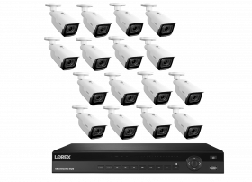 Lorex 4K Nocturnal IP NVR System with 16 Channel 3TB NVR, LNB9292B 4K Smart IP Motorized Zoom Security Bullet Cameras, 4x Optical Zoom, 30FPS, 150ft IR Night Vision, CNV