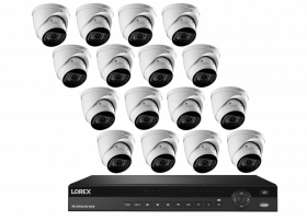 Lorex 4K Nocturnal IP NVR System with N882A63B 16 Channel 3TB NVR, LNE9292B 4K Ultra HD Nocturnal Smart IP Motorized Varifocal Dome Camera, 4x Optical Zoom, Audio, 30FPS, 150ft IR Night Vision, CNV