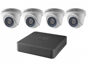 Hikvision T7104Q1TA Surveillance Kits 4 Channel, 1TB Turbo HD/Analog DVR with Four 2.8MM 1080p Outdoor Smart IR Turret Camera, 66ft IR, DNR, IP66