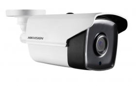 Hikvision DS-2CE16H1T-IT1 5MP HD Bullet Camera, HD-TVI, up to 65ft EXIR, Day/Night, DWDR, Smart IR, IP67, 12 VDC, White