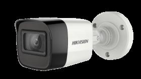 Hikvision DS-2CE16H0T-ITF 5 MP HD EXIR Bullet Camera, TurboHD 4.0, HD-TVI/AHD/HD-CVI/CVBS, up to 65ft EXIR 2.0, Day/Night, DWDR, Smart IR, IP67, 12 VDC, White, 3.6mm Lens Kit