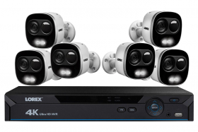Lorex LNR826KX 4K Ultra HD IP Camera System with 6 Active Deterrence Security Cameras, 130ft Night Vision, Audio, Multiple Mounting Options