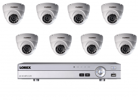 Lorex DV9081_8LEV1522 8 Channel 4K Ultra HD 1TB DVR Security System with 8 720P LEV1522 Dome MPX Cameras, 130ft Night Vision