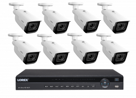 Lorex 8MP 4K Ultra HD IP 8 Channel 2TB  NVR System with LNB9292B 4K Ultra HD  Nocturnal Smart IP Motorized Varifocal Bullet Camera, 4x Optical Zoom, 30FPS, 150ft IR Night Vision, CNV