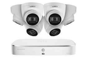Lorex N4K2-86WD 8 Channel 4K Fusion NVR System with Six 4K (8MP) IP Dome Cameras with Listen-In Audio, 130ft Night Vision, Color Night Vision