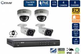 Flir DNR408P2P_2-N347BW4_2-N347VW4 PoE Home Security Camera System with 8Ch 2TB NVR and (2) Bullet (2) Dome 2K Outdoor IP Cameras, 4X Motorized Optical Zoom, Night Vision, Motion Detection, Email Alert