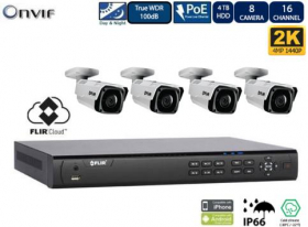 FLIR PoE Home Security Camera System with 8Ch 2TB NVR and (4) 2K Outdoor Bullet IP Cameras, Night Vision, Vandal-Resistant, Weather Proof, Motion Detection, Email Alert