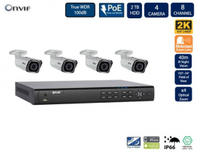 Flir DNR408P2P_4-N347BW4 PoE Home Security Camera System with 8Ch 2TB NVR and (4) 2K HD Outdoor IP Bullet Camera, 4x Motorized Optical Zoom, Night Vision, Motion Detection, Email Alert