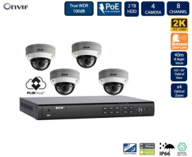 FLIR PoE Home Security Camera System with 8Ch 2TB NVR and (4) 2K HD Outdoor IP Dome Camera, 4X Motorized Optical Zoom, Night Vision, Vandal-Resistant, Motion Detection