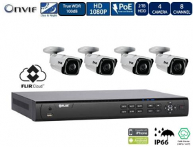 Flir DNR408P2P_4-N437BDL 1080p PoE Home Security Camera System, 8 Channel NVR Recorder with 2TB HDD and (4) 2.1MP CCTV Bullet IP Camera, Motorized Zoom, 100ft Color Night Vision