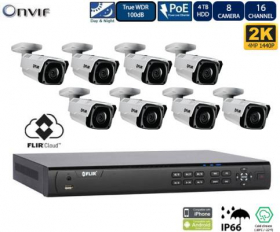 FLIR PoE Home Security Camera System with 16Ch 8 Port 4TB NVR and (8) 2K Outdoor Bullet IP Cameras, Night Vision, Vandal-Resistant, Weather Proof, Motion Detection