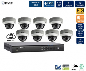 FLIR PoE Home Security Camera System with 16Ch 8 Port 4TB NVR and (8) 2K HD Outdoor IP Dome Camera, 4X Motorized Optical Zoom, Night Vision, Motion Detection