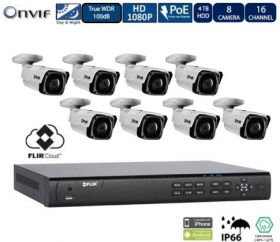 Flir 1080p PoE Home Security Camera System, 16 Channel 8 Port NVR Recorder with 4TB HDD and (8) 2.1MP CCTV Bullet IP Camera, Motorized Zoom, 100ft Color Night Vision