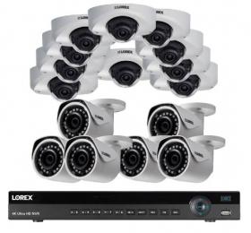 16 Channel NR9163 IP Camera System Featuring 6xLNB4173 2K Bullets and 10xLND4751AB 2K Audio Dome Security Camera