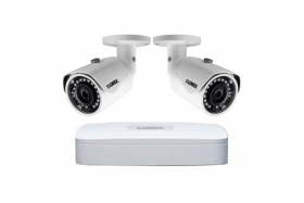 Lorex Lorex_N841A-W_E581CB-W-C Super HD Indoor/Outdoor Home Security System, 4K N841A NVR, 2K 5MP E581CB IP Bullet White Camera, Color Night Vision, Smart Motion Detection and Voice Control