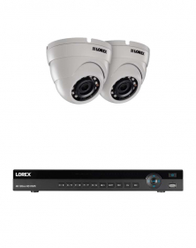 Lorex 8MP 4K Ultra HD IP 2 HDD Slot NVR System with Indoor/Outdoor 2K (5MP) E581CD Super HD IP Dome Cameras, 135ft Night Vision, Color Night Vision