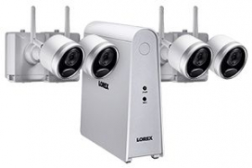 1080p Wireless camera system with 4 battery operated wire-free cameras, 65ft night vision, mic and speaker for two way audio, No Monthly Fees