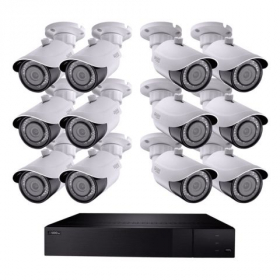 32 CHANNEL 4K NVR SYSTEM WITH (12) 4K BULLET CAMERAS AND 3 TB HDD