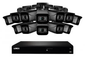Lorex N4K3-1612BB 16 Channel 3TB Fusion NVR System with Twelve 4K (8MP) IP Black Bullet Cameras, 130ft Night Vision, Color Night Vision, Smart Home