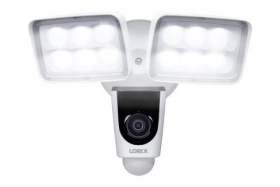 Lorex V261LCD-E 1080p Wi-Fi Dual Floodlight Camera, 30FPS, Fully Weather-Resistant, 137° Field of View, IR Night Vision, Audio, 32GB microSD Card Included,Compatible with Lorex Home Center, White
