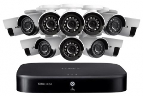 1080p HD 16-Channel Security System with Twelve 1080p HD Weatherproof Bullet Security Camera, Advanced Motion Detection and Smart Home Voice Control