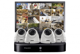 Complete Home Security System featuring 4K Ultra HD DVR, Four 1080p HD Dome Cameras and Monitor