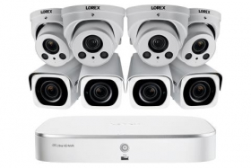 Lorex 4KHDIP844NVW 4K Nocturnal IP NVR System with Four Outdoor 4K (8MP) IP Bullet and Four 4K Audio Dome Cameras, 4x Optical Zoom and 250FT Night Vision