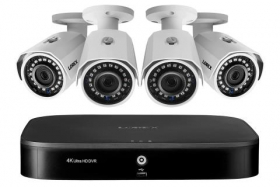 1080p Camera System with 8-Channel 4K DVR and Four 1080p HD Metal Outdoor Cameras, 150FT Night Vision