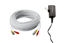 250FT high performance BNC Video/Power Cable & 12V Power Adapter for Lorex security camera systems
