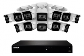 Lorex N4K3-1612WB 16 Channel 3TB Fusion NVR System with Twelve 4K (8MP) IP White Bullet Cameras, 130ft Night Vision, Color Night Vision, Smart Home
