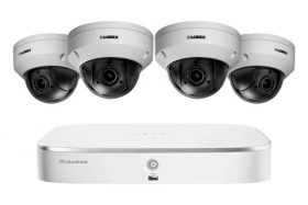 Surveillance System with 8 Channel NVR and 4 Pan-Tilt-Zoom Outoor Metal Camera, 4x Optical Zoom