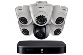 1080p HD Security System with 4K DVR, One 25× Optical Zoom 1080p PTZ Camera and Five 1080p Dome Cameras