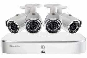 2K HD 8-Channel IP Security System with Four 5MP Cameras and Smart Home Voice Control