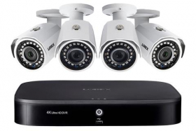 Lorex 2KMPX44 2K Super HD 8-Channel Security System with Four 2K (5MP) Cameras, Advanced Motion Detection and Smart Home Voice Control