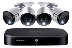 Lorex 4KAD84 4K Ultra HD 8-Channel Security System with 4 Active Deterrence 4K (8MP) Cameras, Advanced Motion Detection and Smart Home Voice Control