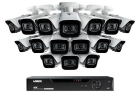 Lorex 4KMPX1616 16-Channel 4K DVR Security System with 16 Ultra HD 4K (8MP) Outdoor Metal Audio Cameras, 135ft Color Night Vision